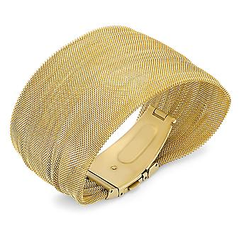 Ladies 18K Gold Plated Stainless Steel Mesh Bracelet