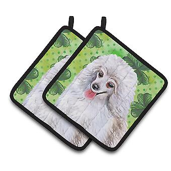 Medium White Poodle St Patrick's Pair of Pot Holders