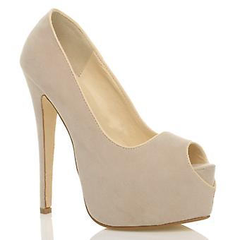 Ajvani womens high heel platform party peep toe court shoes pumps sandals