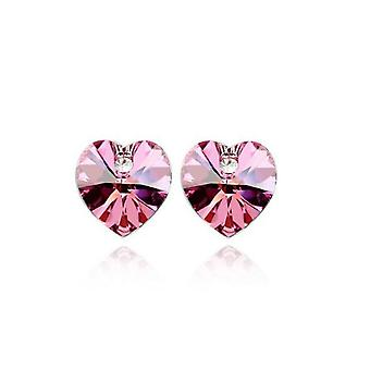 Womens Crystal Stone Pink Heart Shaped Stud Earrings BG1553