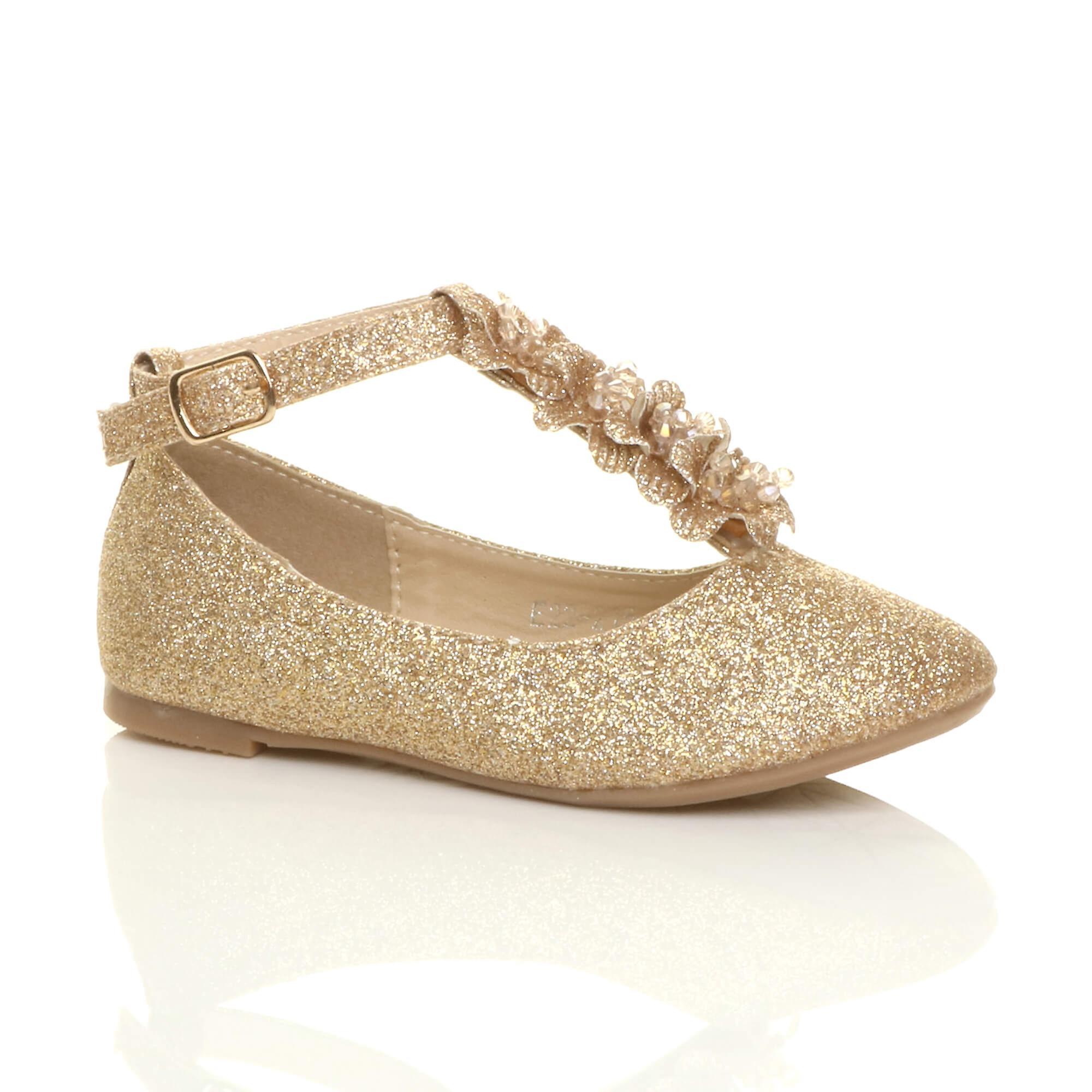 Ajvani girls flat t-bar glitter wedding bridesmaid shoes dressing up costume princess shoes bridesmaid ballerinas- Outstanding features -Gentlemen/Ladies 9609e0
