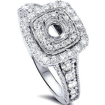 1ct dubbele kussen Halo Diamond Engagement Setting 14K White Gold