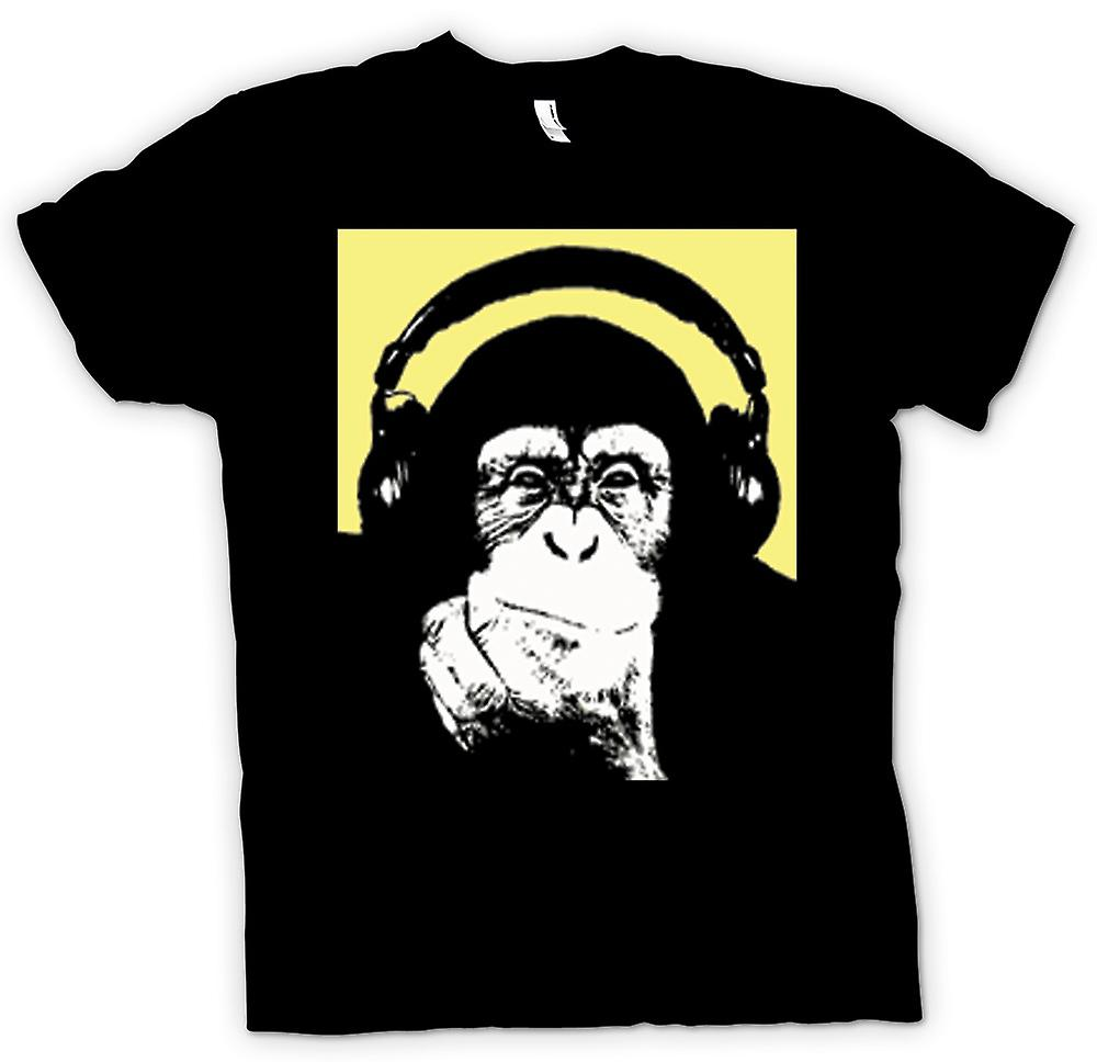 Womens T-shirt - Chimpanzee Ape DJ With Headset
