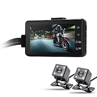 Dual-Camera Motorcycle DVR - Full-HD, 120-Degree Lens, 3-Inch Display, Time Stamp, IP67 Cameras, SD Card Support