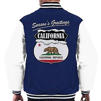 Seasons Greetings California State Flag Christmas Men's Varsity Jacket