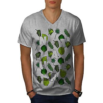 Leaf Tree Pattern Nature Men GreyV-Neck T-shirt | Wellcoda