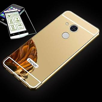 Mirror / Mirror aluminium bumper 2-piece gold + 0.3 mm H9 tempered glass for Huawei honor 6A