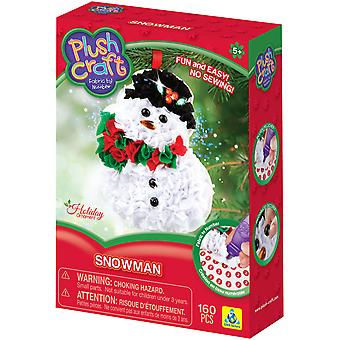 Plush Craft Fabric By Number Ornament Kit-Snowman