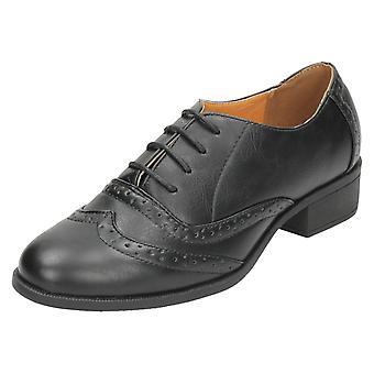 Damer plats på mitten av hälen snöra Brogue skor F9962