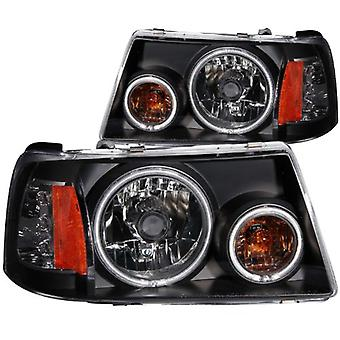 Anzo USA 111152 Ford Ranger 1 Pc. Projector Halo Black Clear Amber Headlight Assembly - (Sold in Pairs)
