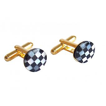 Gemshine - cufflinks - gold plated - mother of Pearl - Onyx - white - black - 1.2 cm