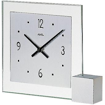 AMS table clock quartz silver of lacquered wooden base aluminium dial mineral crystal