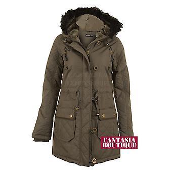 Ladies Black Fur Hooded Zip Up Buttoned Quilted Winter Women's Parker Coat