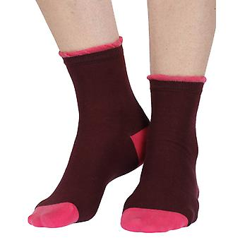 Frilly women's luxury cotton ankle sock in burgandy | By Corgi