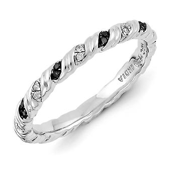Sterling Silver polerat Prong ställa mönstrad rodium-plated stapelbar uttryck svart och vit diamantring - Ring Si
