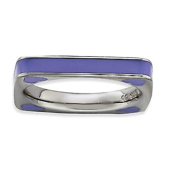 3.25mm 925 Sterling Silver Rhodium-plated Stackable Expressions Polished Purple Enameled Square Ring - Ring Size: 5 to 1