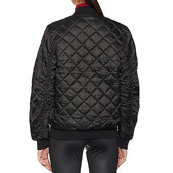 adidas Originals Womens vadderad quiltad zippade bombplan jacka kappa - svart