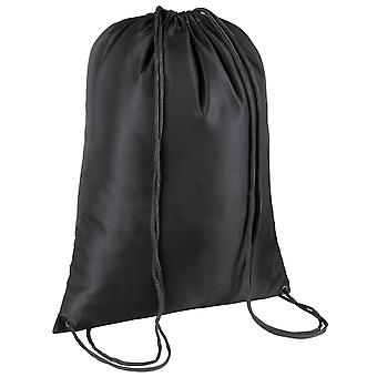 TRIXES Black Drawstring Sports Gym Sack Swimming PE Bag