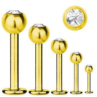 Bar di Labret trago Piercing titanio placcato oro 1.2 mm, bianco SWAROVSKI ELEMENTS   5-12 mm