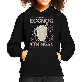 Game Of Thrones I Drink Eggnog And Know Things Kid's Hooded Sweatshirt