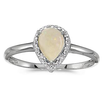14 k hvitt gull pære Opal og Diamond Ring