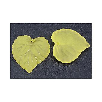 Packet 50+ Yellow Lucite 15 x 16mm Leaf Beads HA26180