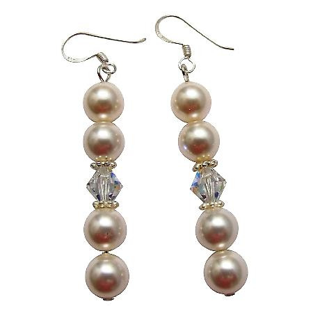 Dainty Flower Girl Bridesmaid Crystals White Pearl Earrings Jewelry