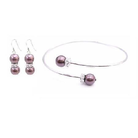 Burgundy Dress Swarovski Burgundy Pearl Cuff Bracelet Earrings Jewelry