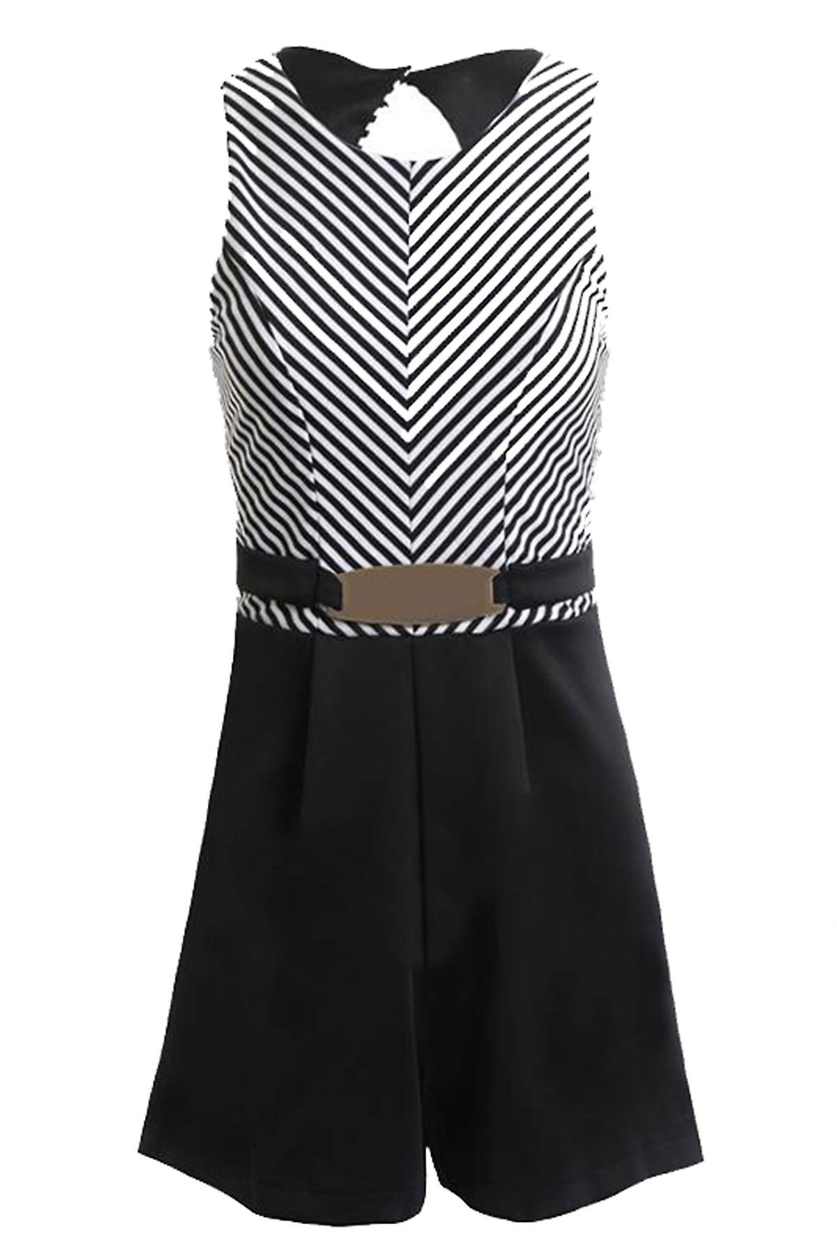 New Ladies Sleeveless Belted Black White Stripe Women's Skater Playsuit