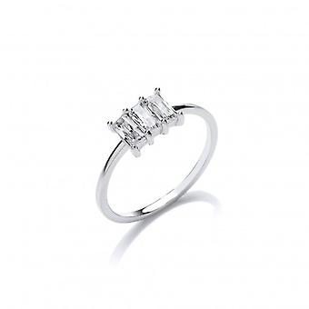 Cavendish French Silver and CZ Triple Baguette Ring