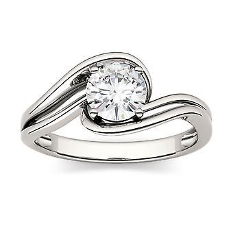 14K białe złoto Moissanite przez Charles idealna Colvard 6mm okrągły pierścionek zaręczynowy, 0,80 ct rosy