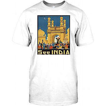 See India - Vintage Retro Travel Poster - Mens T Shirt