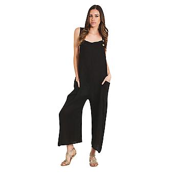 Ladies Lightweight Loose Fit Linen Dungarees - Black One Size Wide Leg Overalls
