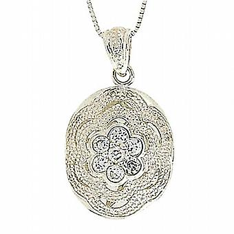 TOC Sterling Silver Clear CZ Flower Oval Locket Necklace 18
