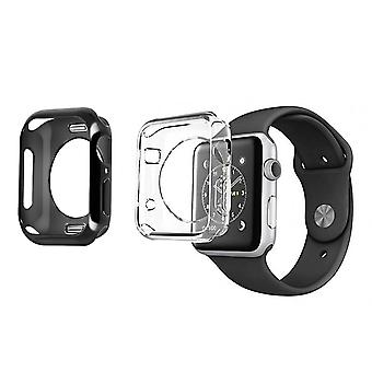 2X Watch case 38 and 40mm Soft Silicone Bumper Dux Ducis Black and Transparent