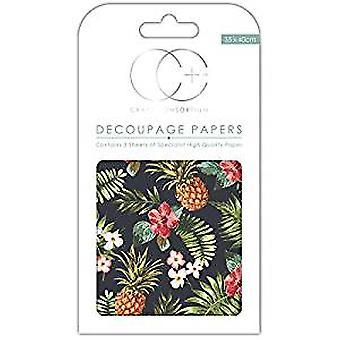 Craft Consortium Retro Pineapple Decoupage Papers (CCDECP247)