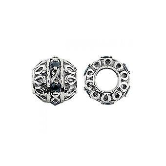 Storywheels Oxidised Silver & Sapphire Ornate Charm S386S