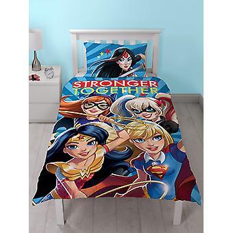 DC Super Hero Girls Single Duvet Cover and Pillowcase Set