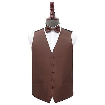 Chocolate marrón Shantung wedding Waistcoat & Bow Tie Set