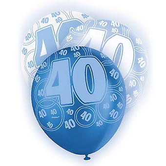 Unique Party 12 Inch 40th Birthday Blue Balloons (Pack Of 5)