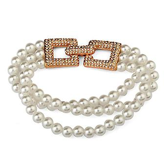 18K Rose Gold Plated Simulated Pearl And Cubic Zirconia Bracelet, 18cm