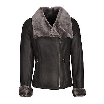Allerby Sheepskin Aviator Jacket in Charcoal Grey