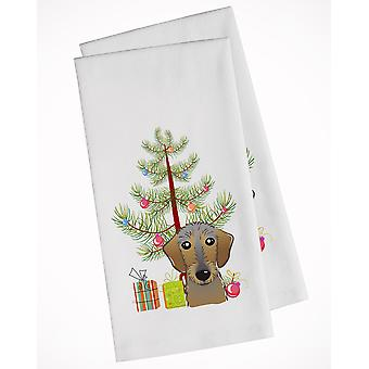 Christmas Tree and Wirehaired Dachshund White Kitchen Towel Set of 2