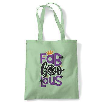 Fab Boo Lous Tote | Halloween Fancy Dress Costume Trick Or Treat | Reusable Shopping Cotton Canvas Long Handled Natural Shopper Eco-Friendly Fashion
