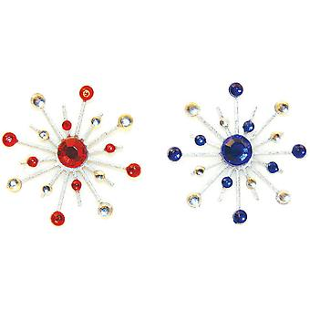 Sparkle Burst Brads 6 Pkg Blue & Red Kfsbb 1839
