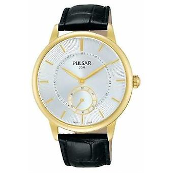 Pulsar Mens Black Leather Strap Silver Dial PN4042X1 Watch