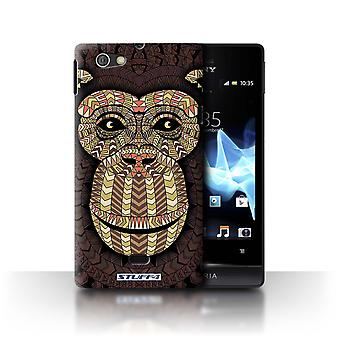 STUFF4 Case/Cover for Sony Xperia Miro/ST23I/Monkey-Sepia/Aztec Animal