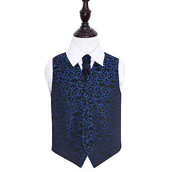 Boy's Black & Blue Swirl Patterned Wedding Waistcoat & Cravat Set