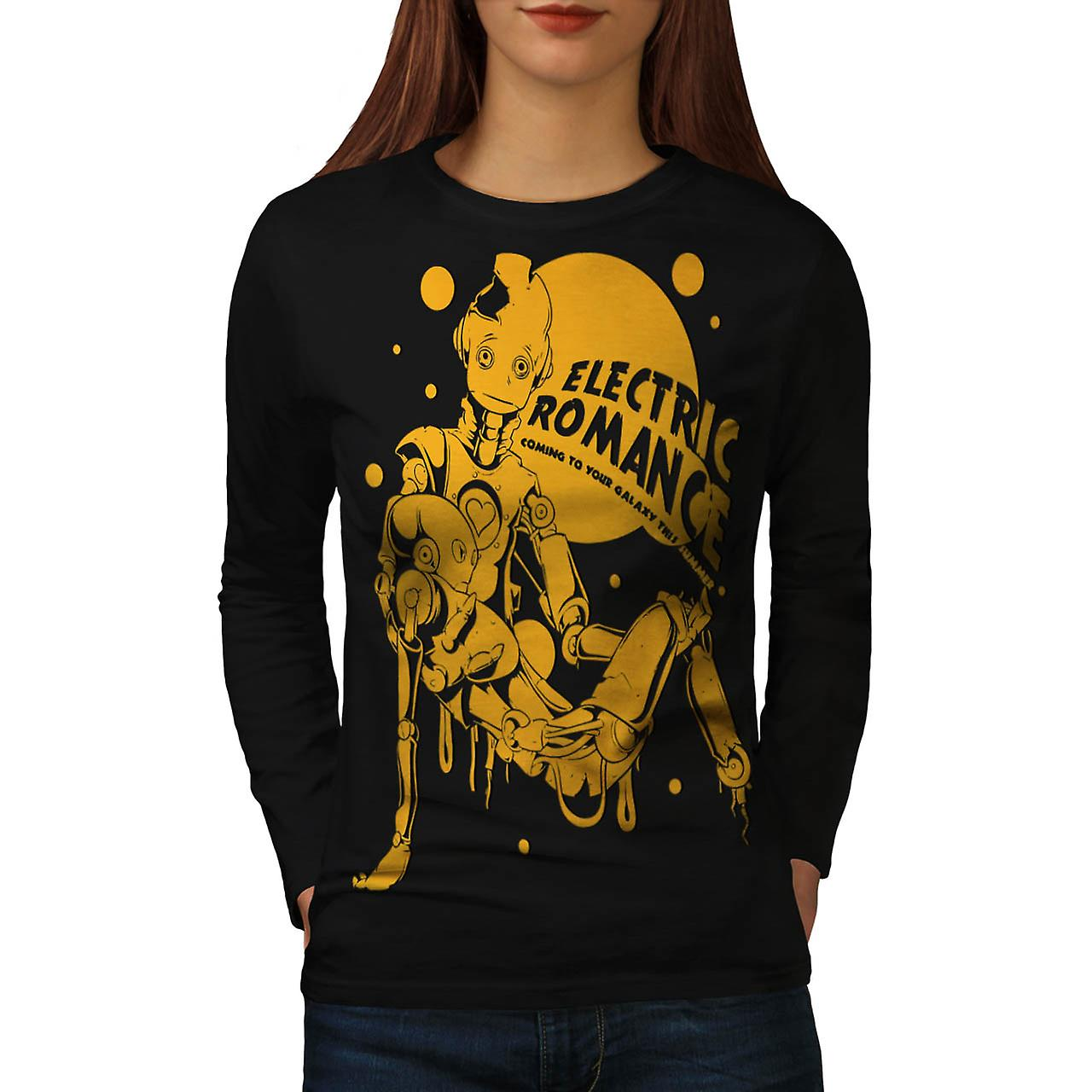 Electric Romance Robot Galaxy Fun Women Black Long Sleeve T-shirt | Wellcoda