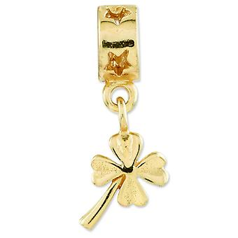 Sterling sølv forgyldt refleksioner 4-leaf Clover Dingle perle charme
